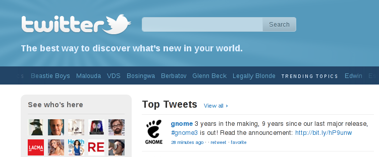 GNOME 3 is a top tweet