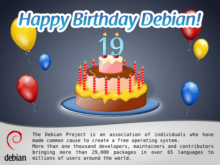 Debian is nineteen years old!